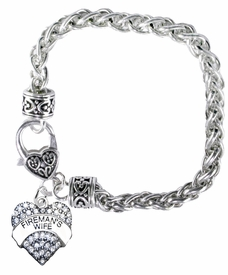 "<BR>           WHOLESALE FIREFIGHTER FASHION JEWELRY  <bR>                                      EXCLUSIVELY OURS!!  <Br>                               AN ALLAN ROBIN DESIGN!!  <BR>                         LEAD, NICKEL & CADMIUM FREE!!  <BR>            W1673SB1 - SILVER TONE AND CLEAR CRYSTAL  <BR>                      ""FIREMAN'S WIFE"" HEART CHARM ON<Br>                            HEART LOBSTER CLASP BRACELET<BR>                                  FROM $5.98 TO $12.85 �2015"