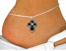 <bR>WHOLESALE CHRISTIAN FASHION COSTUME JEWELRY  <BR>                        EXCLUSIVELY OURS!!  <BR>                   AN ALLAN ROBIN DESIGN!!  <BR>             LEAD, NICKEL & CADMIUM FREE!!  <BR>       W1712SA - DETAILED SILVER TONE AND  <BR> CLEAR AND JET CRYSTAL GOTHIC CROSS <Br>CHARM AND ANKLET FROM $4.70 TO $9.35 �2015