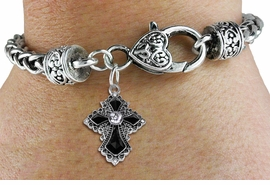 <BR>   WHOLESALE FASHION CHRISTIAN JEWELRY  <bR>                    EXCLUSIVELY OURS!!  <Br>               AN ALLAN ROBIN DESIGN!!  <BR>         LEAD, NICKEL & CADMIUM FREE!!  <BR>   W1712SB - ANTIQUED SILVER TONE AND  <BR>    CLEAR AND JET CRYSTAL GOTHIC CROSS  <BR>CHARM ON HEART LOBSTER CLASP BRACELET  <Br>            FROM $5.98 TO $12.85 �2015