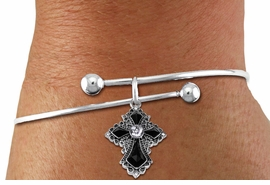 <BR>   WHOLESALE FASHION CHRISTIAN JEWELRY  <bR>                    EXCLUSIVELY OURS!!  <Br>               AN ALLAN ROBIN DESIGN!!  <BR>         LEAD, NICKEL & CADMIUM FREE!!  <BR>    W1712SB - ANTIQUED SILVER TONE AND  <BR>    CLEAR AND JET CRYSTAL GOTHIC CROSS  <BR>CHARM ON ADJUSTABLE SOLID WIRE BRACELET  <Br>            FROM $5.98 TO $12.85 �2015