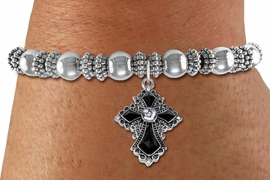 <BR>   WHOLESALE FASHION CHRISTIAN JEWELRY  <bR>                    EXCLUSIVELY OURS!!  <Br>               AN ALLAN ROBIN DESIGN!!  <BR>         LEAD, NICKEL & CADMIUM FREE!!  <BR>   W1712SB - ANTIQUED SILVER TONE AND  <BR>    CLEAR AND JET CRYSTAL GOTHIC CROSS  <BR> CHARM ON SILVER TONE STRETCH BRACELET  <Br>            FROM $5.98 TO $12.85 �2015