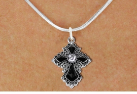 <BR>   WHOLESALE FASHION CHRISTIAN JEWELRY  <bR>                    EXCLUSIVELY OURS!!  <Br>               AN ALLAN ROBIN DESIGN!!  <BR>      CLICK HERE TO SEE 1000+ EXCITING  <BR>            CHANGES THAT YOU CAN MAKE!  <BR>         LEAD, NICKEL & CADMIUM FREE!!  <BR>    W1712SN - ANTIQUED SILVER TONE AND  <BR>    JET AND CLEAR CRYSTAL GOTHIC CROSS <BR>  CHARM ON SMOOTH SNAKE CHAIN NECKLACE  <BR>             FROM $5.40 TO $9.85 �2015
