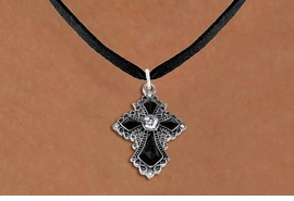 <BR>   WHOLESALE FASHION CHRISTIAN JEWELRY  <bR>                    EXCLUSIVELY OURS!!  <Br>               AN ALLAN ROBIN DESIGN!!  <BR>      CLICK HERE TO SEE 1000+ EXCITING  <BR>            CHANGES THAT YOU CAN MAKE!  <BR>         LEAD, NICKEL & CADMIUM FREE!!  <BR>    W1712SN - ANTIQUED SILVER TONE AND  <BR>    JET AND CLEAR CRYSTAL GOTHIC CROSS <BR> CHARM ON BLACK SUEDE LEATHER NECKLACE  <BR>             FROM $5.40 TO $9.85 �2015