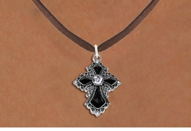 <BR>   WHOLESALE FASHION CHRISTIAN JEWELRY  <bR>                    EXCLUSIVELY OURS!!  <Br>               AN ALLAN ROBIN DESIGN!!  <BR>      CLICK HERE TO SEE 1000+ EXCITING  <BR>            CHANGES THAT YOU CAN MAKE!  <BR>         LEAD, NICKEL & CADMIUM FREE!!  <BR>    W1712SN - ANTIQUED SILVER TONE AND  <BR>    JET AND CLEAR CRYSTAL GOTHIC CROSS <BR> CHARM ON BROWN SUEDE LEATHER NECKLACE  <BR>             FROM $5.40 TO $9.85 �2015