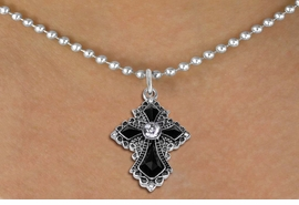 "<BR>   WHOLESALE FASHION CHRISTIAN JEWELRY  <bR>                    EXCLUSIVELY OURS!!  <Br>               AN ALLAN ROBIN DESIGN!!  <BR>      CLICK HERE TO SEE 1000+ EXCITING  <BR>            CHANGES THAT YOU CAN MAKE!  <BR>         LEAD, NICKEL & CADMIUM FREE!!  <BR>    W1712SN - ANTIQUED SILVER TONE AND  <BR>    JET AND CLEAR CRYSTAL GOTHIC CROSS <BR>      CHARM ON 18"" BALL CHAIN NECKLACE  <BR>             FROM $5.40 TO $9.85 �2015"