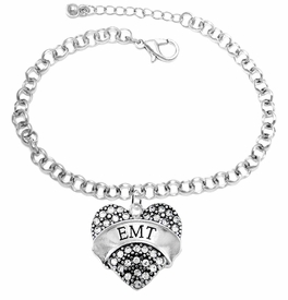 "<BR>WHOLESALE EMERGENCY MEDICAL TECH JEWELRY   <br>                          HYPOALLERGENIC   <BR>           NICKEL, LEAD & CADMIUM FREE!!   <BR>       W1676B2 - SILVER TONE AND CRYSTAL  <BR>  EMERGENCY MEDICAL ""EMT"" HEART CHARM ON   <BR>       CHAIN LINK LOBSTER CLASP BRACELET  <br>              FROM $5.98 TO $12.85 �2015"