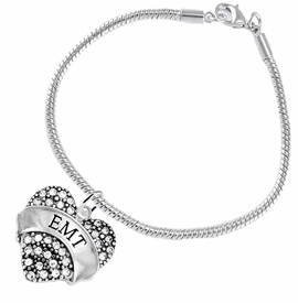 "<BR>WHOLESALE EMERGENCY MEDICAL TECH JEWELRY   <br>                          HYPOALLERGENIC   <BR>           NICKEL, LEAD & CADMIUM FREE!!   <BR>       W1676B7 - SILVER TONE AND CRYSTAL  <BR>  EMERGENCY MEDICAL ""EMT"" HEART CHARM ON   <BR>        SNAKE CHAIN LINK CLASP BRACELET  <br>              FROM $5.98 TO $12.85 �2015"