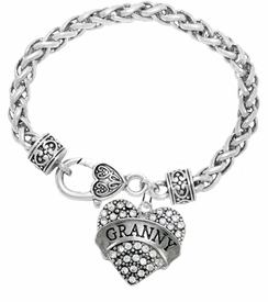 "<BR>    WHOLESALE GRANDMOTHER THEMED JEWELRY    <br>                          HYPOALLERGENIC    <BR>           NICKEL, LEAD & CADMIUM FREE!!    <BR>       W1686B1 - SILVER TONE AND CRYSTAL   <BR>       BEAUTIFUL ""GRANNY"" HEART CHARM ON    <BR>     HEART SHAPED LOBSTER CLASP BRACELET   <br>              FROM $5.98 TO $12.85 �2015"