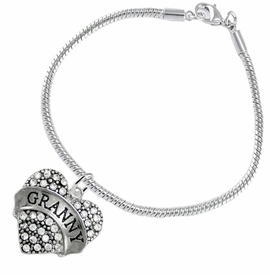 "<BR>    WHOLESALE GRANDMOTHER THEMED JEWELRY    <br>                          HYPOALLERGENIC    <BR>           NICKEL, LEAD & CADMIUM FREE!!    <BR>       W1686B7 - SILVER TONE AND CRYSTAL   <BR>       BEAUTIFUL ""GRANNY"" HEART CHARM ON    <BR>      SNAKE CHAIN LOBSTER CLASP BRACELET   <br>              FROM $5.98 TO $12.85 �2015"