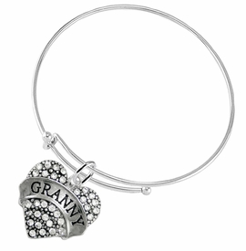 "<BR>    WHOLESALE GRANDMOTHER THEMED JEWELRY    <br>                          HYPOALLERGENIC    <BR>           NICKEL, LEAD & CADMIUM FREE!!    <BR>       W1686B9 - SILVER TONE AND CRYSTAL   <BR>       BEAUTIFUL ""GRANNY"" HEART CHARM ON    <BR>     ADJUSTABLE SOLID THIN WIRE BRACELET   <br>              FROM $5.98 TO $12.85 �2015"