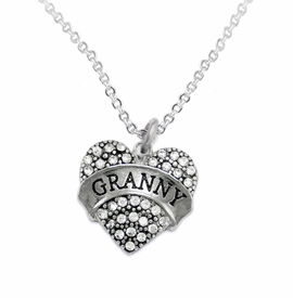 "<BR>    WHOLESALE GRANDMOTHER THEMED JEWELRY    <br>                          HYPOALLERGENIC    <BR>           NICKEL, LEAD & CADMIUM FREE!!    <BR>       W1686N1 - SILVER TONE AND CRYSTAL   <BR>       BEAUTIFUL ""GRANNY"" HEART CHARM ON    <BR>       CHAIN LINK LOBSTER CLASP NECKLACE  <br>              FROM $5.98 TO $12.85 �2015"