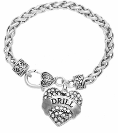 "<BR>   WHOLESALE DRILL TEAM / DANCE JEWELRY    <br>                          HYPOALLERGENIC    <BR>           NICKEL, LEAD & CADMIUM FREE!!    <BR>       W1691B1 - SILVER TONE AND CRYSTAL   <BR>DANCE TEAM THEMED ""DRILL"" HEART CHARM ON    <BR>     HEART SHAPED LOBSTER CLASP BRACELET   <br>              FROM $5.98 TO $12.85 �2015"