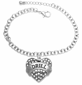 "<BR>   WHOLESALE DRILL TEAM / DANCE JEWELRY    <br>                          HYPOALLERGENIC    <BR>           NICKEL, LEAD & CADMIUM FREE!!    <BR>       W1691B2 - SILVER TONE AND CRYSTAL   <BR>DRILL TEAM THEMED ""DRILL"" HEART CHARM ON    <BR>       CHAIN LINK LOBSTER CLASP BRACELET   <br>              FROM $5.98 TO $12.85 �2015"