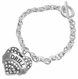 "<BR>   WHOLESALE DRILL TEAM / DANCE JEWELRY    <br>                          HYPOALLERGENIC    <BR>           NICKEL, LEAD & CADMIUM FREE!!    <BR>       W1691B2 - SILVER TONE AND CRYSTAL   <BR>DRILL TEAM THEMED ""DRILL"" HEART CHARM ON    <BR>        CHAIN LINK TOGGLE CLASP BRACELET   <br>              FROM $5.98 TO $12.85 �2015"