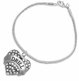 "<BR>   WHOLESALE DRILL TEAM / DANCE JEWELRY    <br>                          HYPOALLERGENIC    <BR>           NICKEL, LEAD & CADMIUM FREE!!    <BR>       W1691B7 - SILVER TONE AND CRYSTAL   <BR>DRILL TEAM THEMED ""DRILL"" HEART CHARM ON    <BR>      SNAKE CHAIN LOBSTER CLASP BRACELET   <br>              FROM $5.98 TO $12.85 �2015"