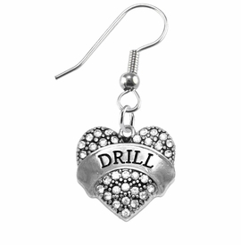 "<BR>   WHOLESALE DRILL TEAM / DANCE JEWELRY    <br>                          HYPOALLERGENIC    <BR>           NICKEL, LEAD & CADMIUM FREE!!    <BR>       W1691E1 - SILVER TONE AND CRYSTAL   <BR>DRILL TEAM THEMED ""DRILL"" HEART CHARMS ON    <BR>      STAINLESS STEEL FISH HOOK EARRINGS  <br>              FROM $5.98 TO $12.85 �2015"
