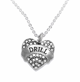 "<BR>   WHOLESALE DRILL TEAM / DANCE JEWELRY    <br>                          HYPOALLERGENIC    <BR>           NICKEL, LEAD & CADMIUM FREE!!    <BR>       W1691N1 - SILVER TONE AND CRYSTAL   <BR>DRILL TEAM THEMED ""DRILL"" HEART CHARM ON    <BR>       CHAIN LINK LOBSTER CLASP NECKLACE   <br>              FROM $5.98 TO $12.85 �2015"