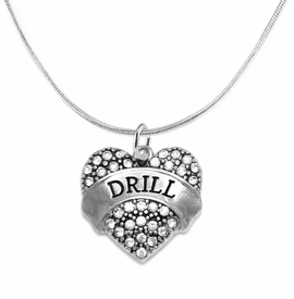 "<BR>   WHOLESALE DRILL TEAM / DANCE JEWELRY    <br>                          HYPOALLERGENIC    <BR>           NICKEL, LEAD & CADMIUM FREE!!    <BR>       W1691N2 - SILVER TONE AND CRYSTAL   <BR>DRILL TEAM THEMED ""DRILL"" HEART CHARM ON    <BR>      SNAKE CHAIN LOBSTER CLASP NECKLACE   <br>              FROM $5.98 TO $12.85 �2015"