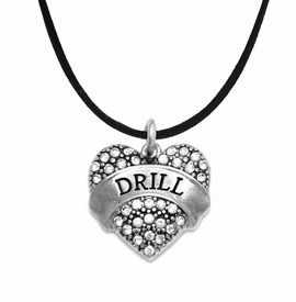 "<BR>   WHOLESALE DRILL TEAM / DANCE JEWELRY    <br>                          HYPOALLERGENIC    <BR>           NICKEL, LEAD & CADMIUM FREE!!    <BR>       W1691N3 - SILVER TONE AND CRYSTAL   <BR>DRILL TEAM THEMED ""DRILL"" HEART CHARM ON    <BR>      BLACK SUEDE LOBSTER CLASP NECKLACE   <br>              FROM $5.98 TO $12.85 �2015"