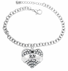 "<BR>      WHOLESALE MEDICAL NURSE JEWELRY    <br>                       HYPOALLERGENIC    <BR>        NICKEL, LEAD & CADMIUM FREE!!    <BR>    W1694B2 - SILVER TONE AND CRYSTAL   <BR> REGISTERED NURSE ""RN"" HEART CHARM ON    <BR>    CHAIN LINK LOBSTER CLASP BRACELET   <br>           FROM $5.98 TO $12.85 �2015"