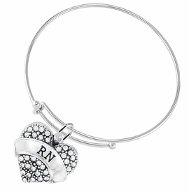 "<BR>      WHOLESALE MEDICAL NURSE JEWELRY    <br>                       HYPOALLERGENIC    <BR>        NICKEL, LEAD & CADMIUM FREE!!    <BR>    W1694B9 - SILVER TONE AND CRYSTAL   <BR> REGISTERED NURSE ""RN"" HEART CHARM ON    <BR>  ADJUSTABLE SOLID THIN WIRE BRACELET   <br>           FROM $5.98 TO $12.85 �2015"