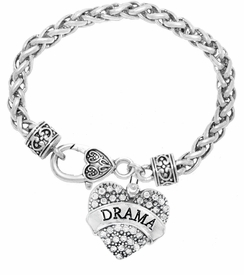 "<BR>  WHOLESALE DRAMA TEAM / THEATRE JEWELRY    <br>                          HYPOALLERGENIC    <BR>           NICKEL, LEAD & CADMIUM FREE!!    <BR>       W1701B1 - SILVER TONE AND CRYSTAL   <BR>       THE ACTORS ""DRAMA"" HEART CHARM ON    <BR>     HEART SHAPED LOBSTER CLASP BRACELET   <br>              FROM $5.98 TO $12.85 �2015"