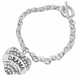 "<BR>  WHOLESALE DRAMA TEAM / THEATRE JEWELRY    <br>                          HYPOALLERGENIC    <BR>           NICKEL, LEAD & CADMIUM FREE!!    <BR>       W1701B5 - SILVER TONE AND CRYSTAL   <BR>       THE ACTORS ""DRAMA"" HEART CHARM ON    <BR>        CHAIN LINK TOGGLE CLASP BRACELET   <br>              FROM $5.98 TO $12.85 �2015"