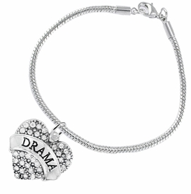 "<BR>  WHOLESALE DRAMA TEAM / THEATRE JEWELRY    <br>                          HYPOALLERGENIC    <BR>           NICKEL, LEAD & CADMIUM FREE!!    <BR>       W1701B7 - SILVER TONE AND CRYSTAL   <BR>       THE ACTORS ""DRAMA"" HEART CHARM ON    <BR>      SNAKE CHAIN LOBSTER CLASP BRACELET   <br>              FROM $5.98 TO $12.85 �2015"