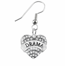 "<BR>  WHOLESALE DRAMA TEAM / THEATRE JEWELRY    <br>                          HYPOALLERGENIC    <BR>           NICKEL, LEAD & CADMIUM FREE!!    <BR>       W1701E1 - SILVER TONE AND CRYSTAL   <BR>       THE ACTORS ""DRAMA"" HEART CHARM ON    <BR>      STAINLESS STEEL FISH HOOK EARRINGS   <br>              FROM $5.98 TO $12.85 �2015"