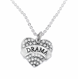 "<BR>  WHOLESALE DRAMA TEAM / THEATRE JEWELRY    <br>                          HYPOALLERGENIC    <BR>           NICKEL, LEAD & CADMIUM FREE!!    <BR>       W1701N1 - SILVER TONE AND CRYSTAL   <BR>       THE ACTORS ""DRAMA"" HEART CHARM ON    <BR>       CHAIN LINK LOBSTER CLASP NECKLACE  <br>              FROM $5.98 TO $12.85 �2015"