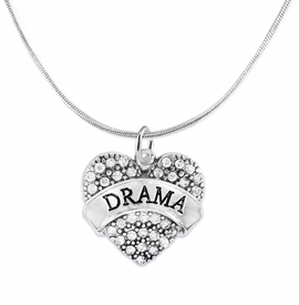 "<BR>  WHOLESALE DRAMA TEAM / THEATRE JEWELRY    <br>                          HYPOALLERGENIC    <BR>           NICKEL, LEAD & CADMIUM FREE!!    <BR>       W1701N2 - SILVER TONE AND CRYSTAL   <BR>       THE ACTORS ""DRAMA"" HEART CHARM ON    <BR>      SNAKE CHAIN LOBSTER CLASP NECKLACE  <br>              FROM $5.98 TO $12.85 �2015"