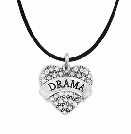 "<BR>  WHOLESALE DRAMA TEAM / THEATRE JEWELRY    <br>                          HYPOALLERGENIC    <BR>           NICKEL, LEAD & CADMIUM FREE!!    <BR>       W1701N3 - SILVER TONE AND CRYSTAL   <BR>       THE ACTORS ""DRAMA"" HEART CHARM ON    <BR>        BLACK SUEDE LEATHERETTE NECKLACE  <br>              FROM $5.98 TO $12.85 �2015"