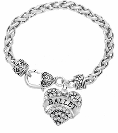 "<BR>         WHOLESALE BALLET DANCER JEWELRY  <br>                          HYPOALLERGENIC    <BR>           NICKEL, LEAD & CADMIUM FREE!!    <BR>       W1706B1 - SILVER TONE AND CRYSTAL   <BR>          ""BALLET"" DANCER HEART CHARM ON    <BR>     HEART SHAPED LOBSTER CLASP BRACELET   <br>              FROM $5.98 TO $12.85 �2015"