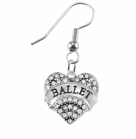 "<BR>    WHOLESALE BALLET DANCER JEWELRY  <br>                     HYPOALLERGENIC    <BR>      NICKEL, LEAD & CADMIUM FREE!!    <BR> W1706E1 - SILVER TONE AND CRYSTAL   <BR>    ""BALLET"" DANCER HEART CHARM ON    <BR>STAINLESS STEEL FISH HOOK EARRINGS   <br>        FROM $5.98 TO $12.85 �2015"