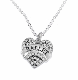 "<BR>    WHOLESALE BALLET DANCER JEWELRY   <br>                     HYPOALLERGENIC     <BR>      NICKEL, LEAD & CADMIUM FREE!!     <BR> W1706N1 - SILVER TONE AND CRYSTAL    <BR>    ""BALLET"" DANCER HEART CHARM ON     <BR> CHAIN LINK LOBSTER CLASP NECKLACE   <br>        FROM $5.98 TO $12.85 �2015"