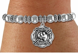 "<BR>  WHOLESALE FIRE DEPT BRACELET JEWELRY <bR>                EXCLUSIVELY OURS!! <Br>           AN ALLAN ROBIN DESIGN!! <BR>     LEAD, NICKEL & CADMIUM FREE!! <BR> W1716SB6 - DETAILED SILVER TONE FIRE DEPT <BR>SHIELD WITH ""VOLUNTEER FIREFIGHTER"" CHARM ON<BR> BEADED SILVER TONE STRETCH BRACELET <Br>     FROM $5.63 TO $12.50 �2015"