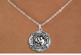 "<BR>       WHOLESALE FIRE DEPT NECKLACE JEWELRY  <bR>                   EXCLUSIVELY OURS!!  <Br>              AN ALLAN ROBIN DESIGN!!  <BR>     CLICK HERE TO SEE 1000+ EXCITING  <BR>           CHANGES THAT YOU CAN MAKE!  <BR>        LEAD, NICKEL & CADMIUM FREE!!  <BR>W1716SN1 - SILVER TONE FIRE DEPT SHIELD <BR> WITH ""VOLUNTEER FIREFIGHTER"" CHARM ON  <BR>CHAIN NECKLACE FROM $5.90 TO $9.35 �2015"