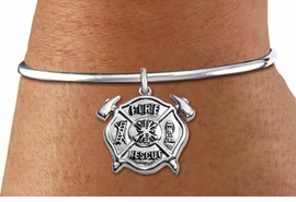 "<BR>  WHOLESALE FIRE DEPT BRACELET JEWELRY <bR>                EXCLUSIVELY OURS!! <Br>           AN ALLAN ROBIN DESIGN!! <BR>     LEAD, NICKEL & CADMIUM FREE!! <BR> W1717SB8 - DETAILED SILVER TONE FIRE DEPT <BR>SHIELD WITH ""FIRE RESCUE"" CHARM <BR>   ON OPEN CUFF BRACELET <Br>     FROM $5.63 TO $12.50 �2015"