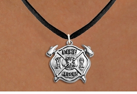"<BR>       WHOLESALE FIRE DEPT NECKLACE JEWELRY  <bR>                   EXCLUSIVELY OURS!!  <Br>              AN ALLAN ROBIN DESIGN!!  <BR>     CLICK HERE TO SEE 1000+ EXCITING  <BR>           CHANGES THAT YOU CAN MAKE!  <BR>        LEAD, NICKEL & CADMIUM FREE!!  <BR>W1717SN3 - SILVER TONE FIRE DEPT SHIELD  <BR> WITH ""FIRE RESCUE"" CHARM ON BLACK SUEDE <BR>    NECKLACE FROM $5.90 TO $9.35 �2015"