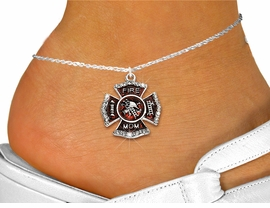 "<bR>  WHOLESALE FIREFIGHTER FASHION JEWELRY <BR>                     EXCLUSIVELY OURS!! <BR>                AN ALLAN ROBIN DESIGN!! <BR>          LEAD, NICKEL & CADMIUM FREE!! <BR>W1718SA1 - SILVER TONE AND RED EPOXY WITH <BR>CRYSTAL ACCENTS ""FIRE MOM"" SHIELD CHARM  <Br>   AND ANKLET FROM $4.70 TO $9.35 �2015"