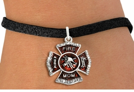 "<BR> WHOLESALE FASHION FIREFIGHTER JEWELRY <bR>                   EXCLUSIVELY OURS!! <Br>              AN ALLAN ROBIN DESIGN!!  <BR>     CLICK HERE TO SEE 1000+ EXCITING <BR>           CHANGES THAT YOU CAN MAKE!  <BR>        LEAD, NICKEL & CADMIUM FREE!!  <BR> W1718SB3 - SILVER TONE AND RED EPOXY  <BR>WITH CRYSTAL ACCENTS ""FIRE MOM"" SHIELD  <BR>      CHARM ON BLACK SUEDE LEATHERETTE  <BR>   BRACELET FROM $5.40 TO $9.85 �2015"