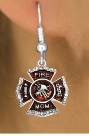 "<BR>  WHOLESALE FIRE SHIELD FASHION EARRINGS  <bR>                    EXCLUSIVELY OURS!!  <Br>               AN ALLAN ROBIN DESIGN!!  <BR>         LEAD, NICKEL & CADMIUM FREE!!  <BR>  W1718SE1 - SILVER TONE AND RED EPOXY  <BR>WITH CRYSTAL ACCENTS ""FIRE MOM"" SHIELD  <BR>CHARMS ON SILVER TONE FISHHOOK EARRINGS  <BR>           FROM $5.40 TO $10.45 �2015"