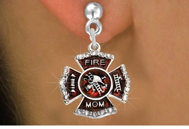 "<BR>  WHOLESALE FIRE SHIELD FASHION EARRINGS  <bR>                    EXCLUSIVELY OURS!!  <Br>               AN ALLAN ROBIN DESIGN!!  <BR>         LEAD, NICKEL & CADMIUM FREE!!  <BR>  W1718SE2 - SILVER TONE AND RED EPOXY  <BR>WITH CRYSTAL ACCENTS ""FIRE MOM"" SHIELD  <BR>  CHARMS ON SILVER TONE POST EARRINGS  <BR>           FROM $5.40 TO $10.45 �2015"