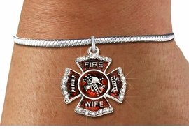 "<BR> WHOLESALE FIREFIGHTER FASHION JEWELRY  <bR>                    EXCLUSIVELY OURS!!  <Br>               AN ALLAN ROBIN DESIGN!!  <BR>         LEAD, NICKEL & CADMIUM FREE!!  <BR>  W1719SB7 - SILVER TONE AND RED EPOXY  <BR>WITH CRYSTAL ACCENTS ""FIRE WIFE"" SHIELD  <BR> CHARM ON SILVER TONE SNAKE CHAIN BRACELET  <Br>          FROM $5.98 TO $12.85 �2015"