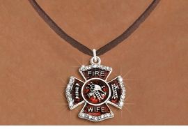 "<BR>     WHOLESALE FASHION FIRE SHIELD JEWELRY  <bR>                        EXCLUSIVELY OURS!!  <Br>                   AN ALLAN ROBIN DESIGN!!  <BR>          CLICK HERE TO SEE 1000+ EXCITING  <BR>                CHANGES THAT YOU CAN MAKE!  <BR>             LEAD, NICKEL & CADMIUM FREE!!  <BR> W1719SN4 - SILVER TONE AND RED EPOXY WITH  <BR>CRYSTAL ACCENTS ""FIRE WIFE"" SHIELD CHARM ON  <BR>BROWN SUEDE LEATHERETTE NECKLACE  <BR>                  FROM $5.40 TO $9.85 �2015"