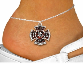 "<bR>  WHOLESALE FIREFIGHTER FASHION JEWELRY <BR>                     EXCLUSIVELY OURS!! <BR>                AN ALLAN ROBIN DESIGN!! <BR>          LEAD, NICKEL & CADMIUM FREE!! <BR>W1720SA1 - SILVER TONE AND RED EPOXY WITH <BR>CRYSTAL ACCENTS ""FIRE EMT"" SHIELD CHARM  <Br>   AND ANKLET FROM $4.70 TO $9.35 �2015"
