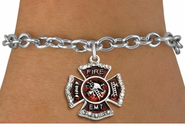 "<BR> WHOLESALE FASHION FIREFIGHTER JEWELRY <bR>                   EXCLUSIVELY OURS!! <Br>              AN ALLAN ROBIN DESIGN!!  <BR>     CLICK HERE TO SEE 1000+ EXCITING <BR>           CHANGES THAT YOU CAN MAKE!  <BR>        LEAD, NICKEL & CADMIUM FREE!!  <BR> W1720SB5 - SILVER TONE AND RED EPOXY  <BR>WITH CRYSTAL ACCENTS ""FIRE EMT"" SHIELD  <BR>     CHARM ON TOGGLE CLASP BRACELET  <BR>           FROM $5.40 TO $9.85 �2015"