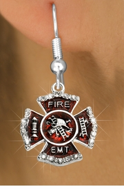 "<BR>  WHOLESALE FIRE SHIELD FASHION EARRINGS  <bR>                    EXCLUSIVELY OURS!!  <Br>               AN ALLAN ROBIN DESIGN!!  <BR>         LEAD, NICKEL & CADMIUM FREE!!  <BR>  W1720SE1 - SILVER TONE AND RED EPOXY  <BR>WITH CRYSTAL ACCENTS ""FIRE EMT"" SHIELD  <BR>    CHARMS ON SILVER TONE POST EARRINGS  <BR>           FROM $5.40 TO $10.45 �2015"
