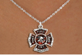 "<BR>     WHOLESALE FASHION FIRE SHIELD JEWELRY  <bR>                        EXCLUSIVELY OURS!!  <Br>                   AN ALLAN ROBIN DESIGN!!  <BR>          CLICK HERE TO SEE 1000+ EXCITING  <BR>                CHANGES THAT YOU CAN MAKE!  <BR>             LEAD, NICKEL & CADMIUM FREE!!  <BR> W1720SN1 - SILVER TONE AND RED EPOXY WITH  <BR>CRYSTAL ACCENTS ""FIRE EMT"" SHIELD CHARM ON  <BR>  SILVER TONE LOBSTER CLASP CHAIN NECKLACE  <BR>                  FROM $5.40 TO $9.85 �2015"