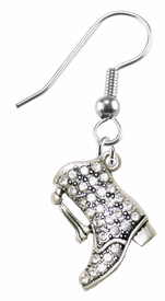 <BR>    WHOLESALE DRILL BOOT FASHION EARRING  <bR>                      EXCLUSIVELY OURS!!  <Br>                 AN ALLAN ROBIN DESIGN!!  <BR>           NICKEL,  LEAD, & CADMIUM FREE!!  <BR>      W1721E1 - BEAUTIFUL SILVER TONE AND  <BR>CLEAR CRYSTAL DRILL BOOT CHARM  <BR>     ON SURGICAL STEEL FISHHOOK EARRINGS <BR>              FROM $5.40 TO $10.45 �2015